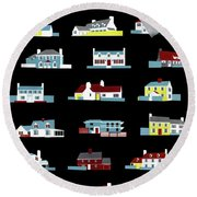 House & Garden Cover Illustration Of 18 Houses Round Beach Towel