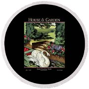 House & Garden Cover Illustration Of A Swan Round Beach Towel