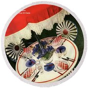 House And Garden Cover Featuring An Outdoor Table Round Beach Towel