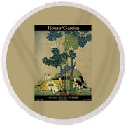 House And Garden Cover Round Beach Towel by H. George Brandt