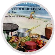 House And Garden Ideas For Summer Issue Cover Round Beach Towel