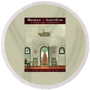 House And Garden Interior Decoration Number Cover Round Beach Towel