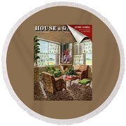 House And Garden Issue About Southern California Round Beach Towel