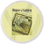 House And Garden Servant Less Living Houses Cover Round Beach Towel