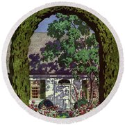 House And Garden Small House Number Round Beach Towel