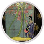 House And Garden Spring Furnishing Number Cover Round Beach Towel