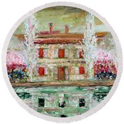 House And River Round Beach Towel