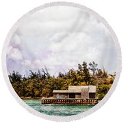 House Boat Round Beach Towel
