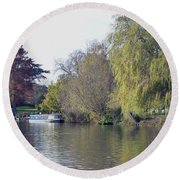House Boat On River Avon Round Beach Towel