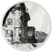 House By A River Round Beach Towel