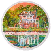 House By The Tidal Creek At Pawleys Island Round Beach Towel