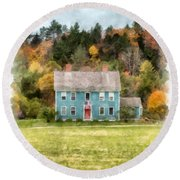 House By The Woods Round Beach Towel