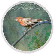 House Finch With Verse Round Beach Towel