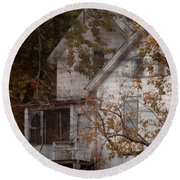 House In Fall Round Beach Towel