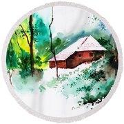 House In Greens 1 Round Beach Towel