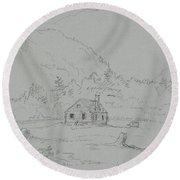 House In Mount Desert Round Beach Towel
