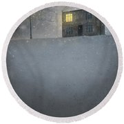 House In Snow With Lamp Round Beach Towel