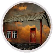 House In The Clouds Round Beach Towel