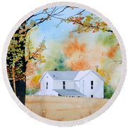 House In The Meadow Round Beach Towel