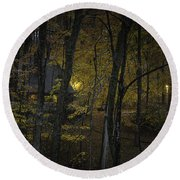 House In The Woods Round Beach Towel