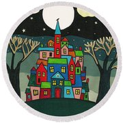 House Of The Crow Round Beach Towel
