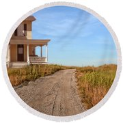 House On Rural Dirt Road Round Beach Towel
