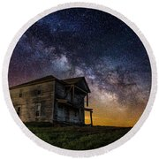 House On The Hill Round Beach Towel