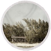 House On The Water Round Beach Towel