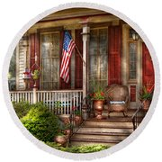 House - Porch - Belvidere Nj - A Classic American Home  Round Beach Towel