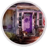 House - Porch - Cranford Nj - Lovely In Lavender  Round Beach Towel