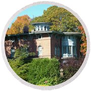 House Surrounded By Autumn Round Beach Towel