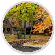House Surrounded With Colors Round Beach Towel