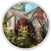 House - Westfield Nj - The Summer Retreat  Round Beach Towel by Mike Savad