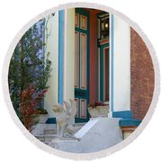 House With Griffin Lafayette Square St Louis Round Beach Towel