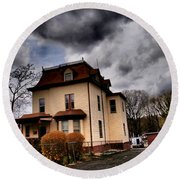House With Storm Approaching Round Beach Towel