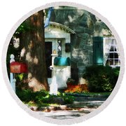 House With Turquoise Shutters Round Beach Towel