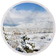 Houses And Trees Covered With Snow Round Beach Towel