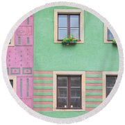 Houses From The Outside Round Beach Towel