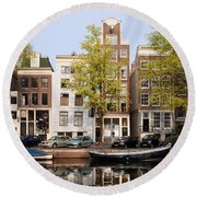 Houses In Amsterdam Round Beach Towel