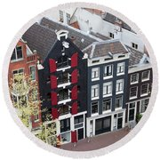 Houses In Amsterdam From Above Round Beach Towel