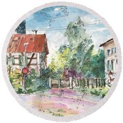 Houses In Soufflenheim Round Beach Towel