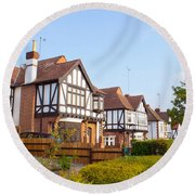 Houses In Woodford England Round Beach Towel