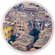 Houses Of Old City Of Siena - Tuscany - Italy - Europe Round Beach Towel
