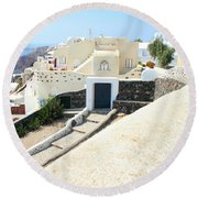 Houses Oia Santorini Round Beach Towel
