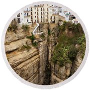 Houses On A Rock In Ronda Round Beach Towel