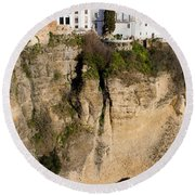Houses On Rock In Ronda Round Beach Towel