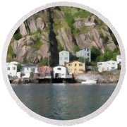 Houses With Expressive Brushstrokes Round Beach Towel