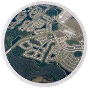 Housing Development Near Wetland Round Beach Towel