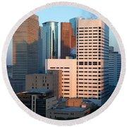 Houston Financial District Round Beach Towel