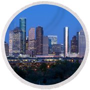 Houston Night Skyline Round Beach Towel